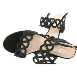 Sandały czarne z cyrkoniami Filippo DS1355/20 BK 4