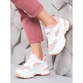 SHELOVET Biało-różowe Sneakersy 1