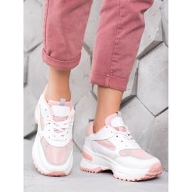 SHELOVET Biało-różowe Sneakersy 4
