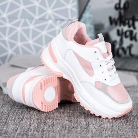 SHELOVET Biało-różowe Sneakersy 2