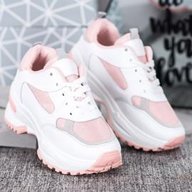 SHELOVET Biało-różowe Sneakersy 3