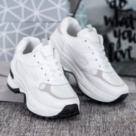 SHELOVET Białe Sneakersy Sportowe 3