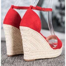 SHELOVET Seksowne Sandałki Na Koturnie czerwone 1