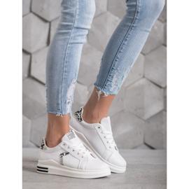 SHELOVET Buty Sportowe Z Eko Skóry białe 1