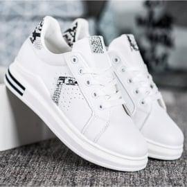 SHELOVET Buty Sportowe Z Eko Skóry białe 5