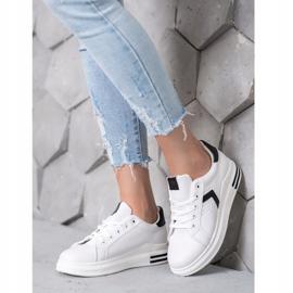 SHELOVET Buty Sportowe Z Eko Skóry białe 3