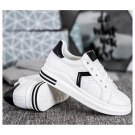 SHELOVET Buty Sportowe Z Eko Skóry białe 4