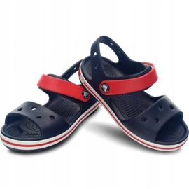Klapki Crocs Crocband Sandal Kids 12856 485 białe czerwone niebieskie 2