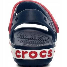 Klapki Crocs Crocband Sandal Kids 12856 485 białe czerwone niebieskie 4