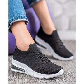 SHELOVET Tekstylne Czarne Sneakersy 4
