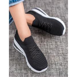 SHELOVET Tekstylne Czarne Sneakersy 1
