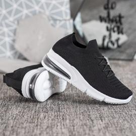 SHELOVET Tekstylne Czarne Sneakersy 2