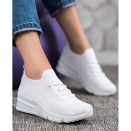 SHELOVET Tekstylne Białe Sneakersy 4