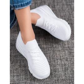 SHELOVET Tekstylne Białe Sneakersy 1