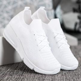 SHELOVET Tekstylne Białe Sneakersy 2