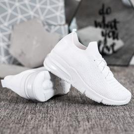 SHELOVET Tekstylne Białe Sneakersy 3
