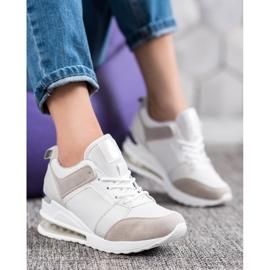 Weide Sneakersy Na Koturnie Fashion białe szare 1