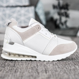 Weide Sneakersy Na Koturnie Fashion białe szare 3