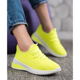 SHELOVET Tekstylne Sneakersy żółte 4