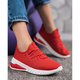 SHELOVET Tekstylne Sneakersy czerwone 1