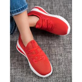 SHELOVET Tekstylne Sneakersy czerwone 2