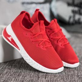 SHELOVET Tekstylne Sneakersy czerwone 4