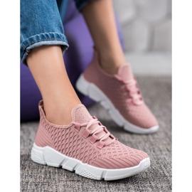 SUPER COOL Różowe Sneakersy Tekstylne 4