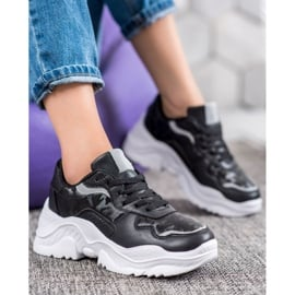 SHELOVET Lekkie Sneakersy czarne 5