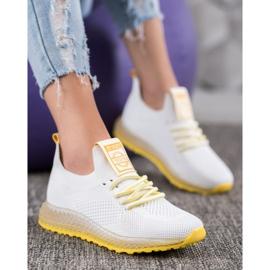 SHELOVET Sneakersy Z Żółtą Podeszwą białe 1