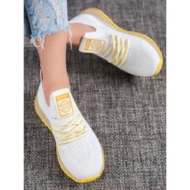 SHELOVET Sneakersy Z Żółtą Podeszwą białe 2
