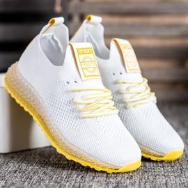 SHELOVET Sneakersy Z Żółtą Podeszwą białe 3