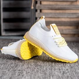 SHELOVET Sneakersy Z Żółtą Podeszwą białe 4