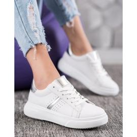 Renda Sneakersy Ze Srebrnymi Wstawkami białe 5