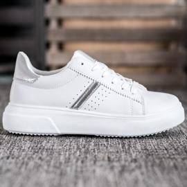 Renda Sneakersy Ze Srebrnymi Wstawkami białe 2
