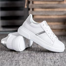 Renda Sneakersy Ze Srebrnymi Wstawkami białe 3