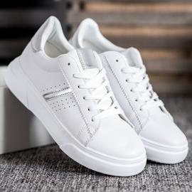 Renda Sneakersy Ze Srebrnymi Wstawkami białe 4