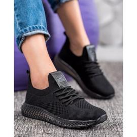 SHELOVET Sneakersy Z Transparentną Podeszwą czarne 4