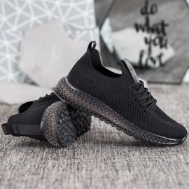 SHELOVET Sneakersy Z Transparentną Podeszwą czarne 2