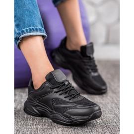 SHELOVET Lekkie Czarne Sneakersy 4