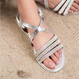 SHELOVET Wygodne Srebrne Sandały szare 1
