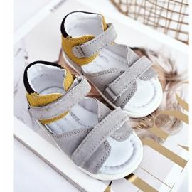 Bartek S.A. Dziecięce Sandałki Profilaktyczne Mini First Steps Bartek W-71266 szare żółte 3