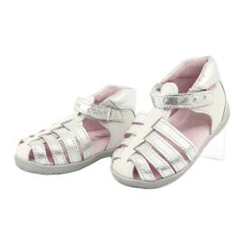 Sandałki skórzane Mazurek 245 białe szare 2