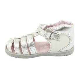 Sandałki skórzane Mazurek 245 białe szare 1