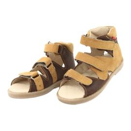 Sandałki wysokie profilaktyczne Mazurek 291 brązowe żółte 2
