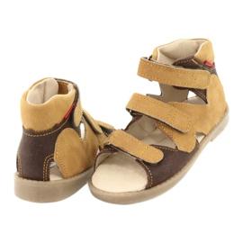 Sandałki wysokie profilaktyczne Mazurek 291 brązowe żółte 3