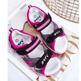 Bartek S.A. Dziecięce Sandałki Dla Dziewcząt Profilaktyczne Bartek T-16176-7/77G czarne różowe szare 5