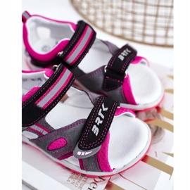 Bartek S.A. Dziecięce Sandałki Dla Dziewcząt Profilaktyczne Bartek T-16176-7/77G czarne różowe szare 3
