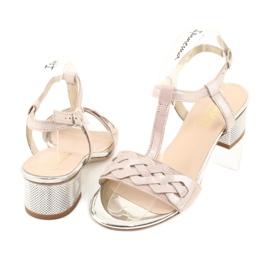 Sandały damskie Gamis 3936 róż/srebrny różowe szare 3