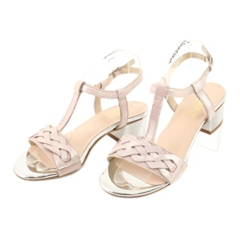 Sandały damskie Gamis 3936 róż/srebrny różowe szare 2