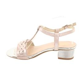 Sandały damskie Gamis 3936 róż/srebrny różowe szare 1